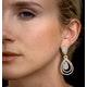 Diamond Halo Drop Earrings 6.66ct in 18K Rose Gold P3491 - image 4