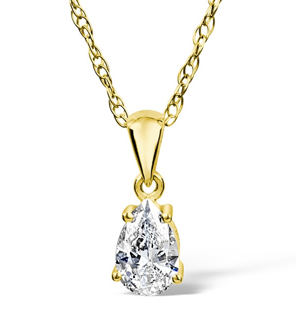 18K GOLD DIAMOND PEAR SHAPE PENDANT 0.33CT G/VS