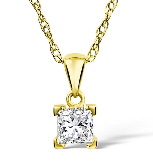 18K GOLD PRINCESS DIAMOND PENDANT 0.50CT G/VS