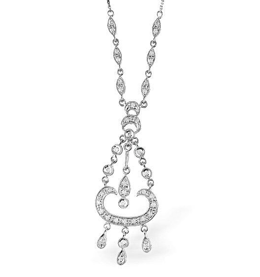 9K Gold Pave Diamond Intricate Design Drop Necklace