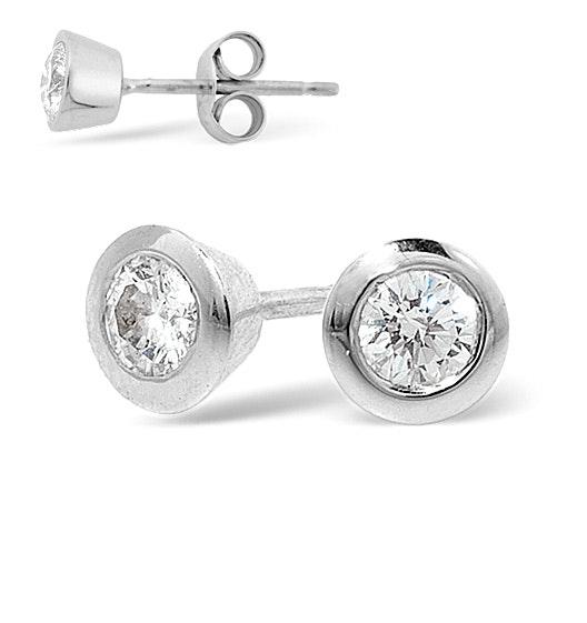 Platinum Rub-over Diamond Stud Earrings - 0.30CT - H/SI - 5mm
