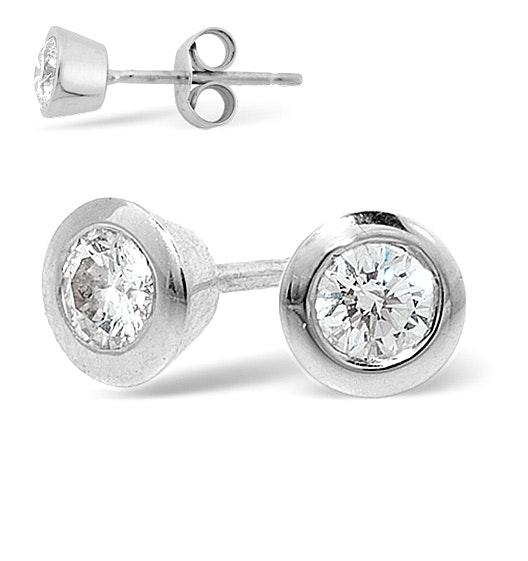 Platinum Rub-over Diamond Stud Earrings - 0.50CT - H/SI - 5.8mm