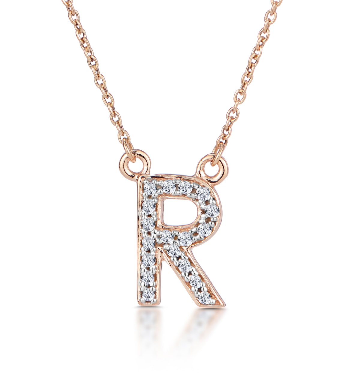 Initial 'R' Necklace Diamond Encrusted Pave Set in 9K Rose Gold