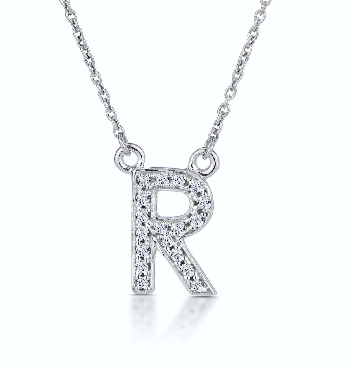 Initial 'R' Necklace Diamond Encrusted Pave Set in 9K White Gold