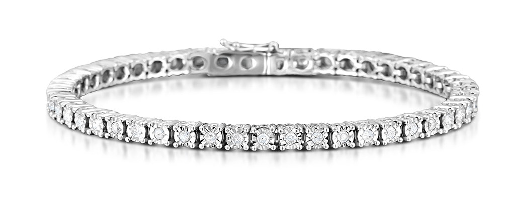 Silver Diamond Set 1.00ct Tennis Bracelet