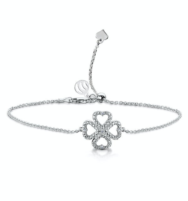 Allura Collection Clover Pave Diamond Bracelet Set in 925 Silver - image 1