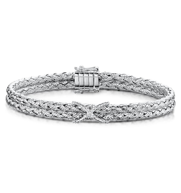 Allura Collection Twisted Diamond Bangle 0.02ct in 925 Silver - ud3263 - image 1