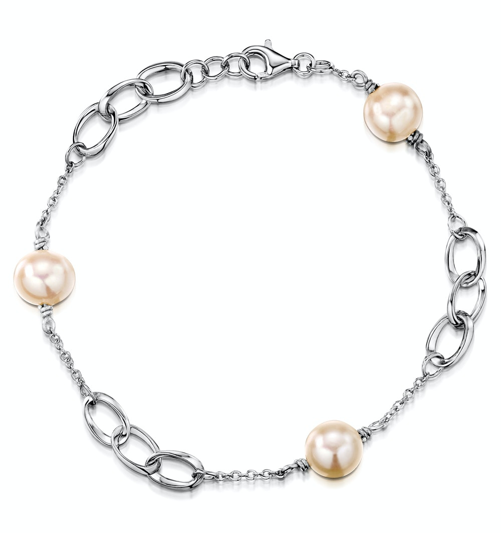 Tesoro Collection Freshwater Pearl Oval Design Bracelet in 925 Silver