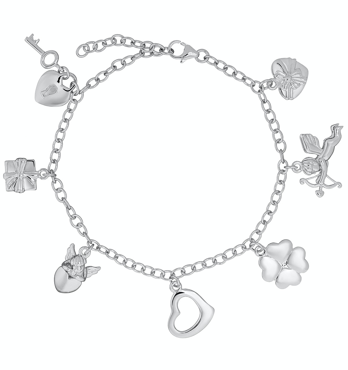 Silver Lucky In Love Key and Heart Charm Bracelet - Tesoro Collection