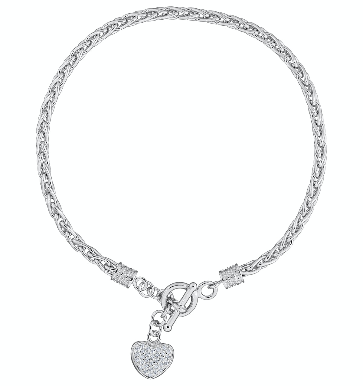 Silver and Diamond Heart Byzantine Bracelet - Tesoro Collection