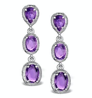 AMETHYST DROP EARRINGS IN STERLING SILVER - UG3245