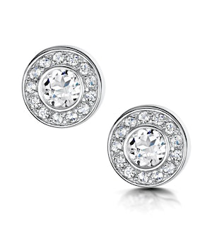 TESORO COLLECTION ROUND BEZEL SET WHITE TOPAZ EARRINGS IN 925 SILVER