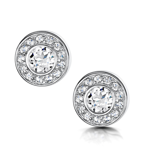Tesoro Collection Round Bezel Set White Topaz Earrings in 925 Silver - image 1