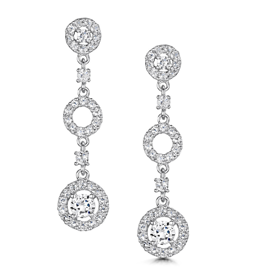 Tesoro Collection White Topaz Circle Triple Dangle Earrings 925 Silver