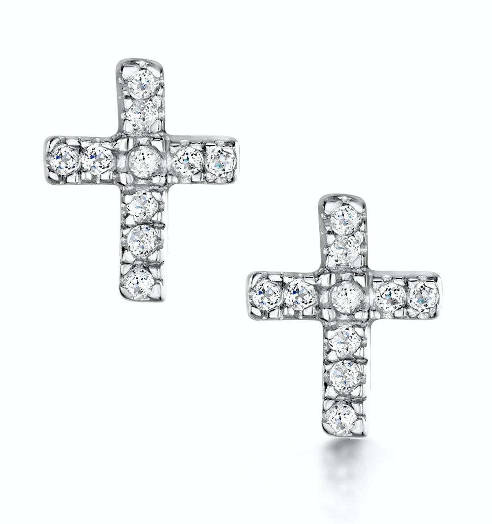 Tesoro Collection White Topaz Cross Earrings in 925 Silver