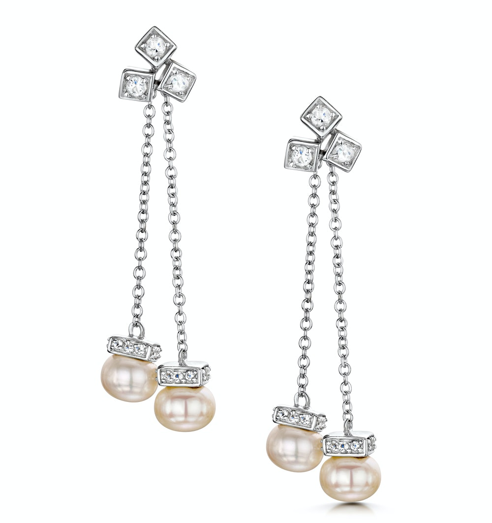 Pearl White Topaz Triple Square Drop Tesoro Earrings in 925 Silver