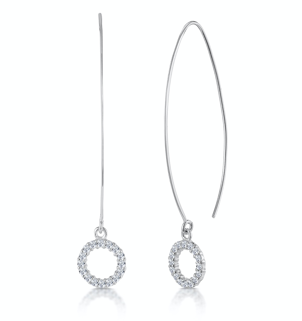 Silver Circle of Life Earrings with White Topaz - Tesoro Collection