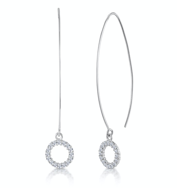 Silver Circle of Life Earrings with White Topaz - Tesoro Collection - image 1