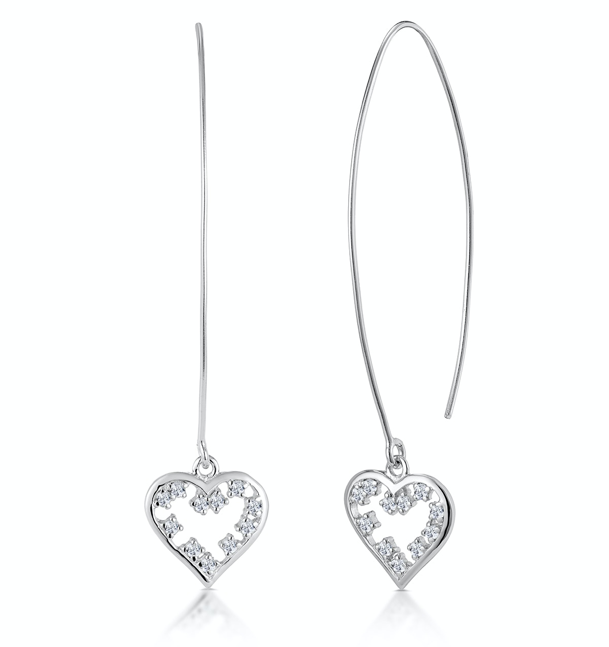 White Topaz Heart Threader Earrings in Silver - Tesoro Collection