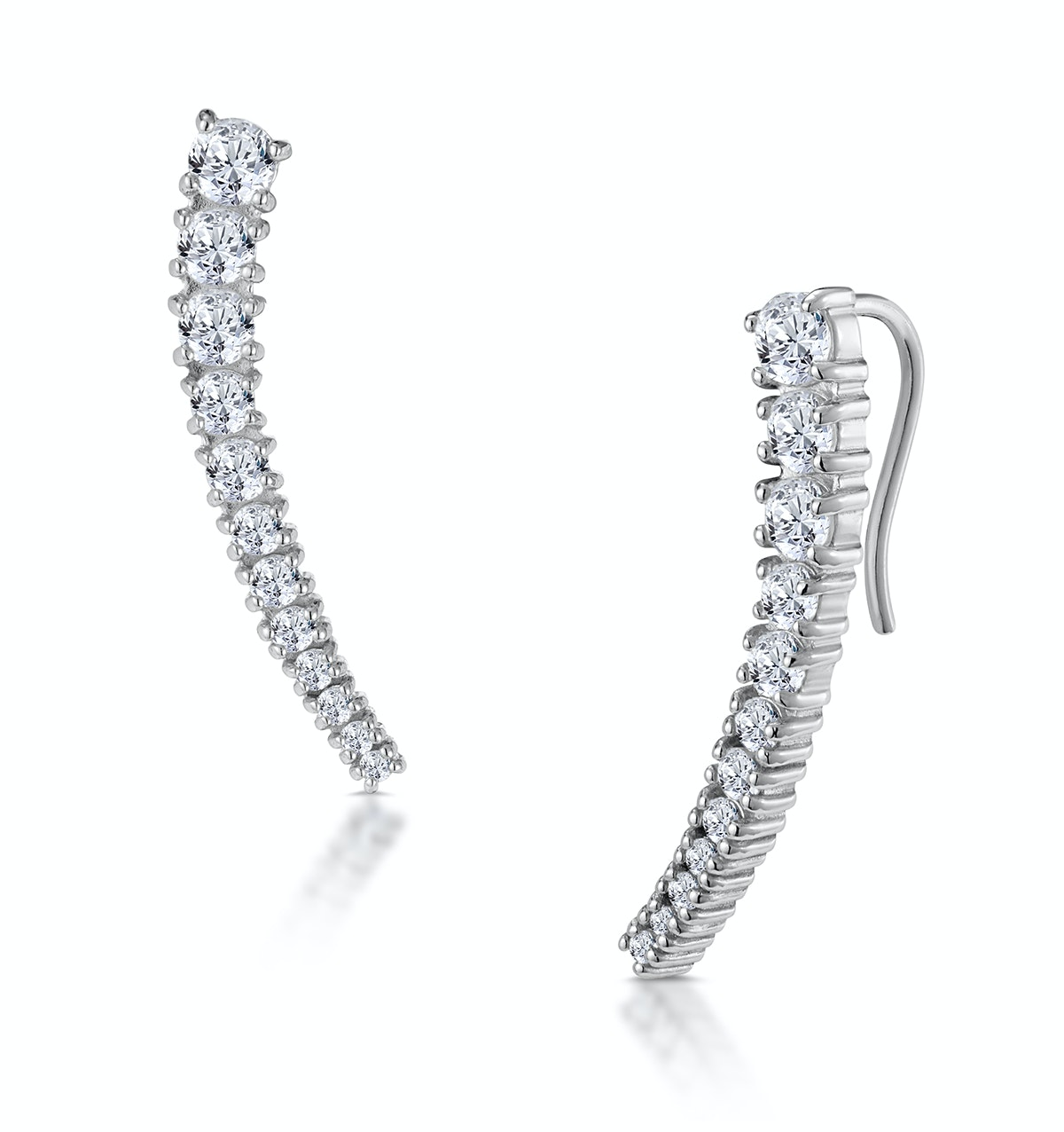Curved Ear Climber with White Topaz in 925 Silver