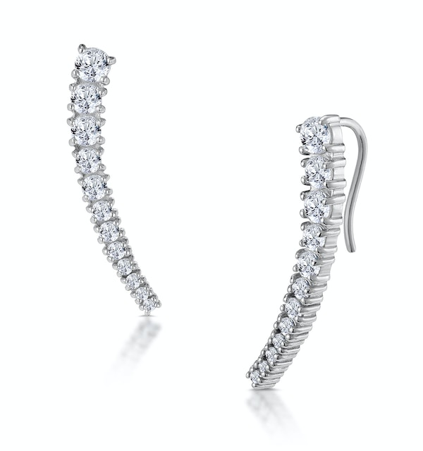 Curved Ear Climber with White Topaz in 925 Silver - image 1