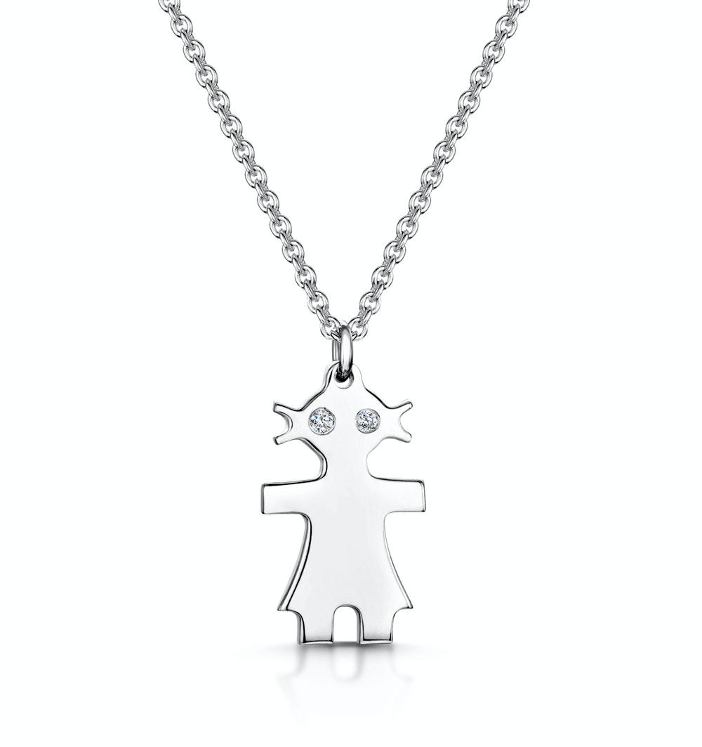 Allura Collection Girl Design Diamond Necklace 0.02ct in 925 Silver