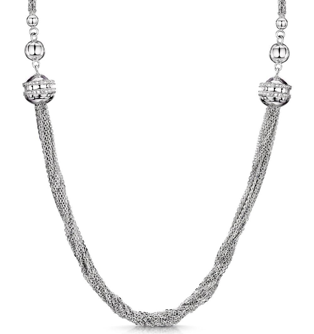 Allura Collection Tassle Design Diamond Necklace 0.02ct in 925 Silver