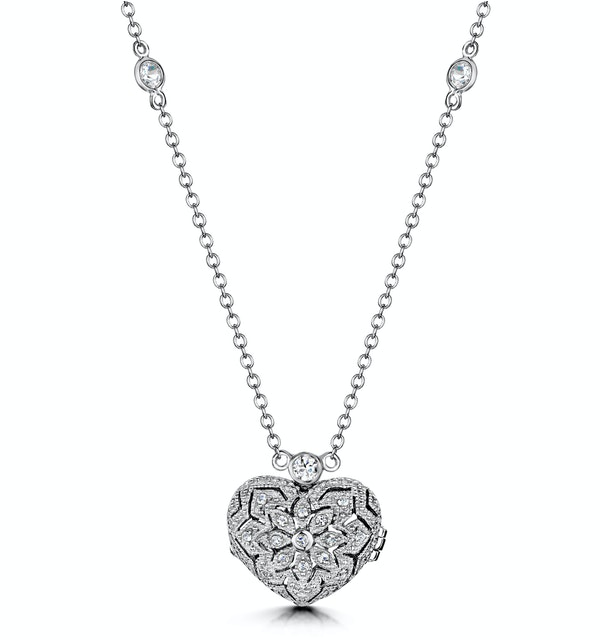 Tesoro White Topaz Vintage Heart Locket Necklace in 925 Silver - image 1
