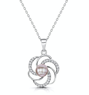 TESORO COLLECTION WHITE TOPAZ AND LILAC PEARL NECKLACE IN 925 SILVER