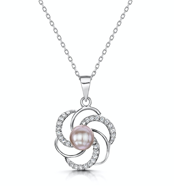 Tesoro Collection White Topaz and Lilac Pearl Necklace in 925 Silver - image 1