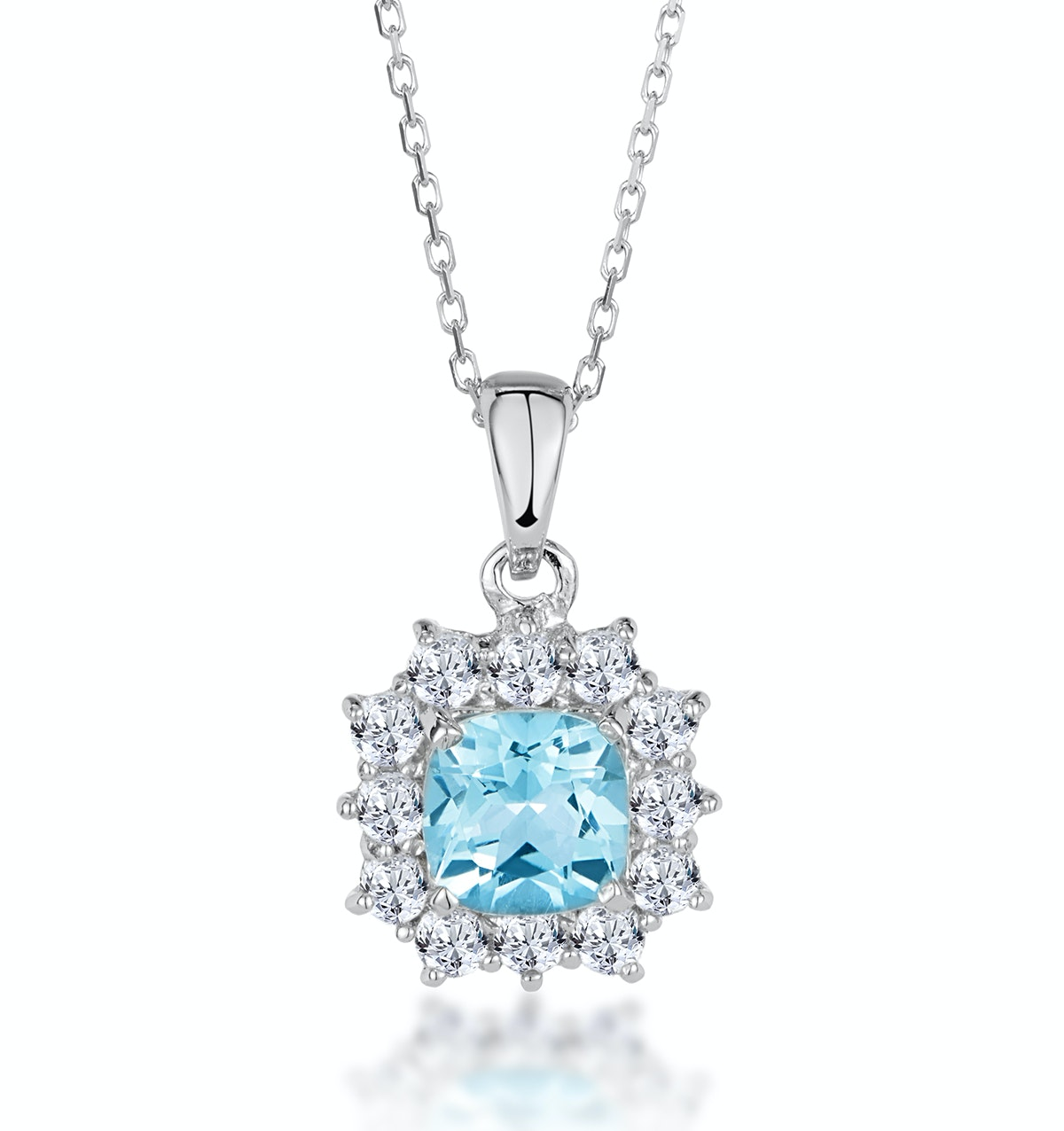 Cushion Cut Blue and White Topaz Silver Necklace - Tesoro Collection
