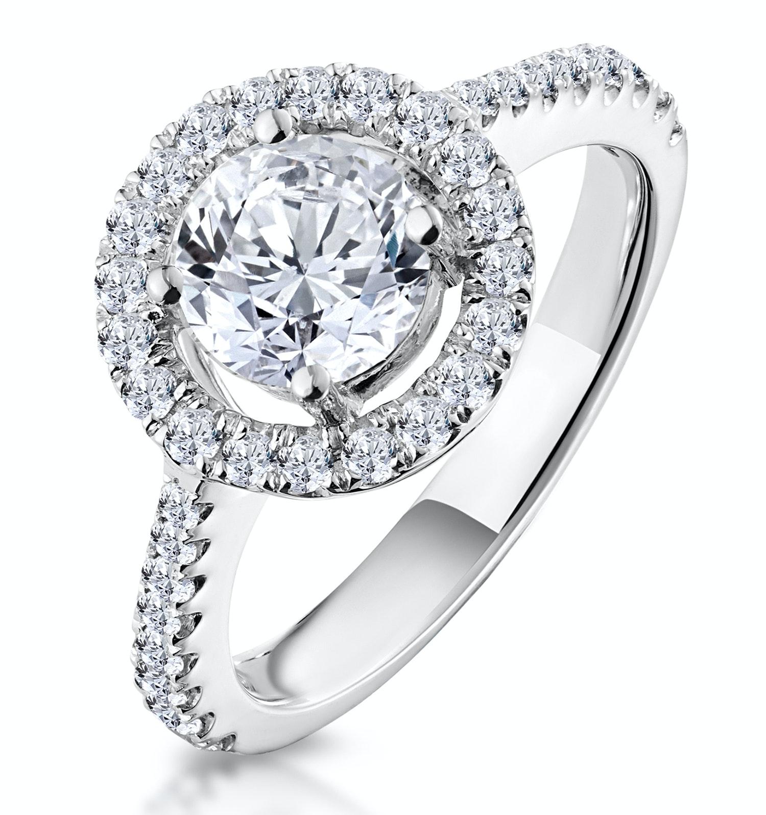 Ella Halo Diamond Engagement Ring 1.70ct E/Si1 in Platinum