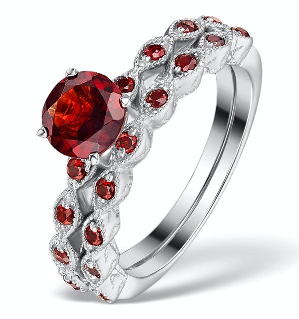 Stacking Ring Set Garnet Rings Sterling Silver - UT33229 - image 1