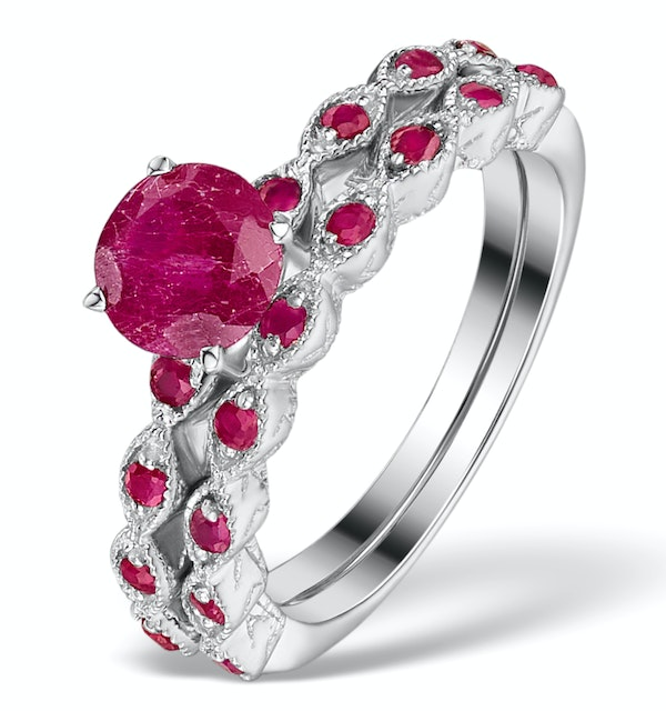 Stacking Ruby Ring Set in Sterling Silver - UT33221 - image 1