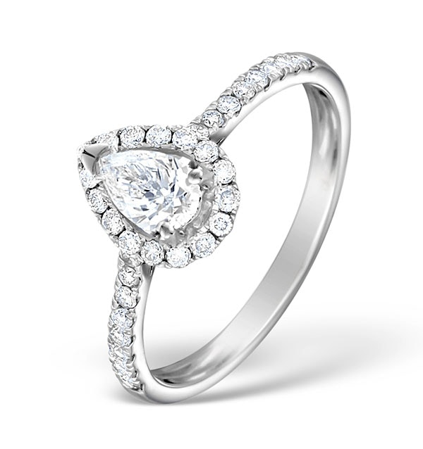 Halo Engagement Ring Ella 0.81ct VS Pear Shape Diamond 18K White Gold - image 1