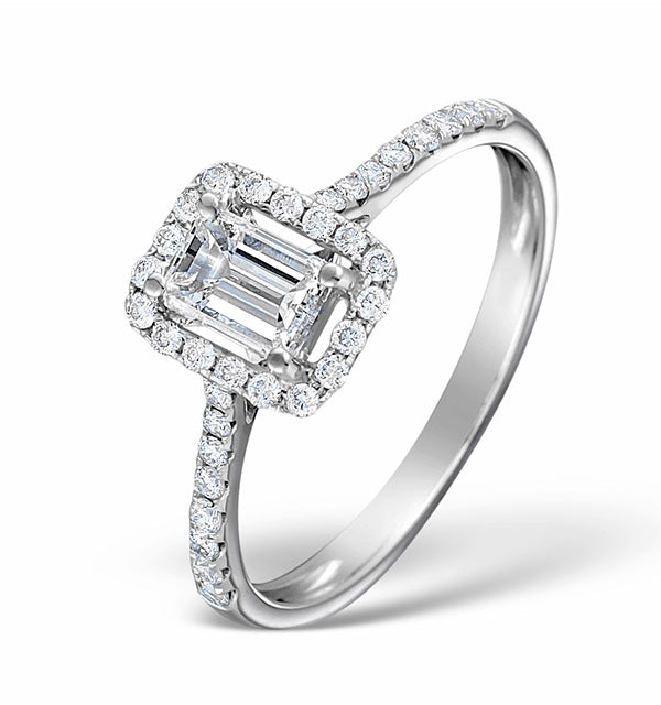 Halo Engagement Ring Ella 0.80ct SI Emerald Cut Diamonds 18KW Gold - image 1