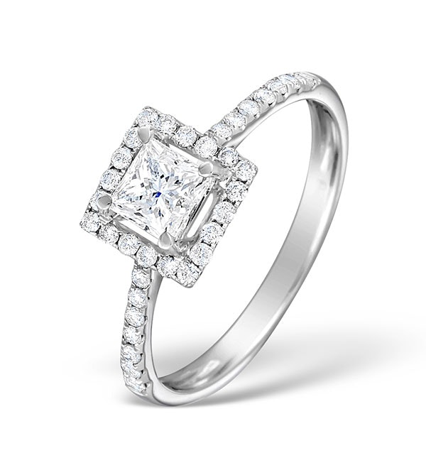 Halo Engagement Ring Ella 18K Gold Diamond Princess Cut 0.82ct SI