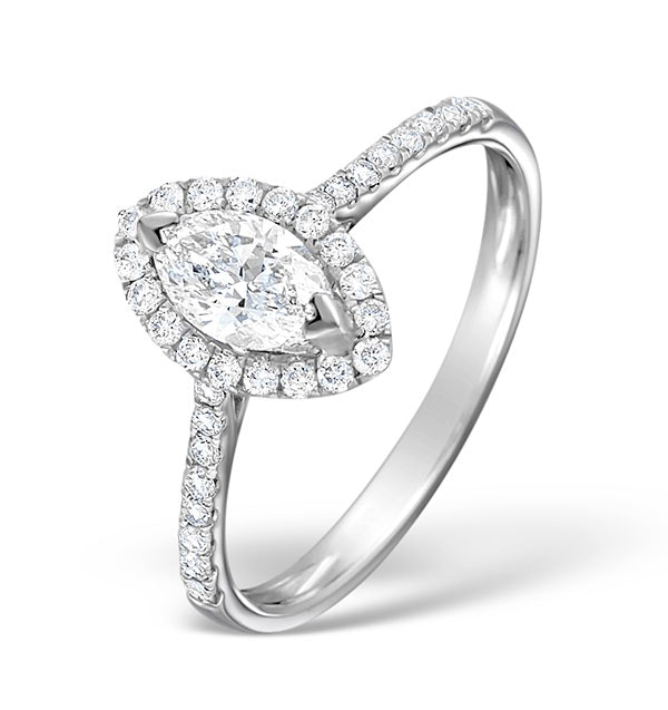 Halo Engagement Ring Ella 0.84ct H/Si Marquise Diamond 18K White Gold
