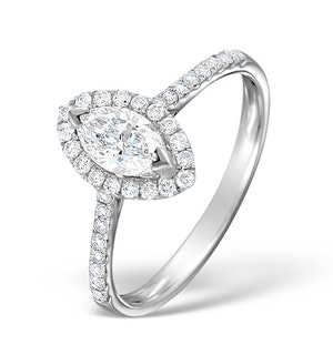 HALO ENGAGEMENT RING ELLA 0.84CT H/SI MARQUISE DIAMOND 18K WHITE GOLD