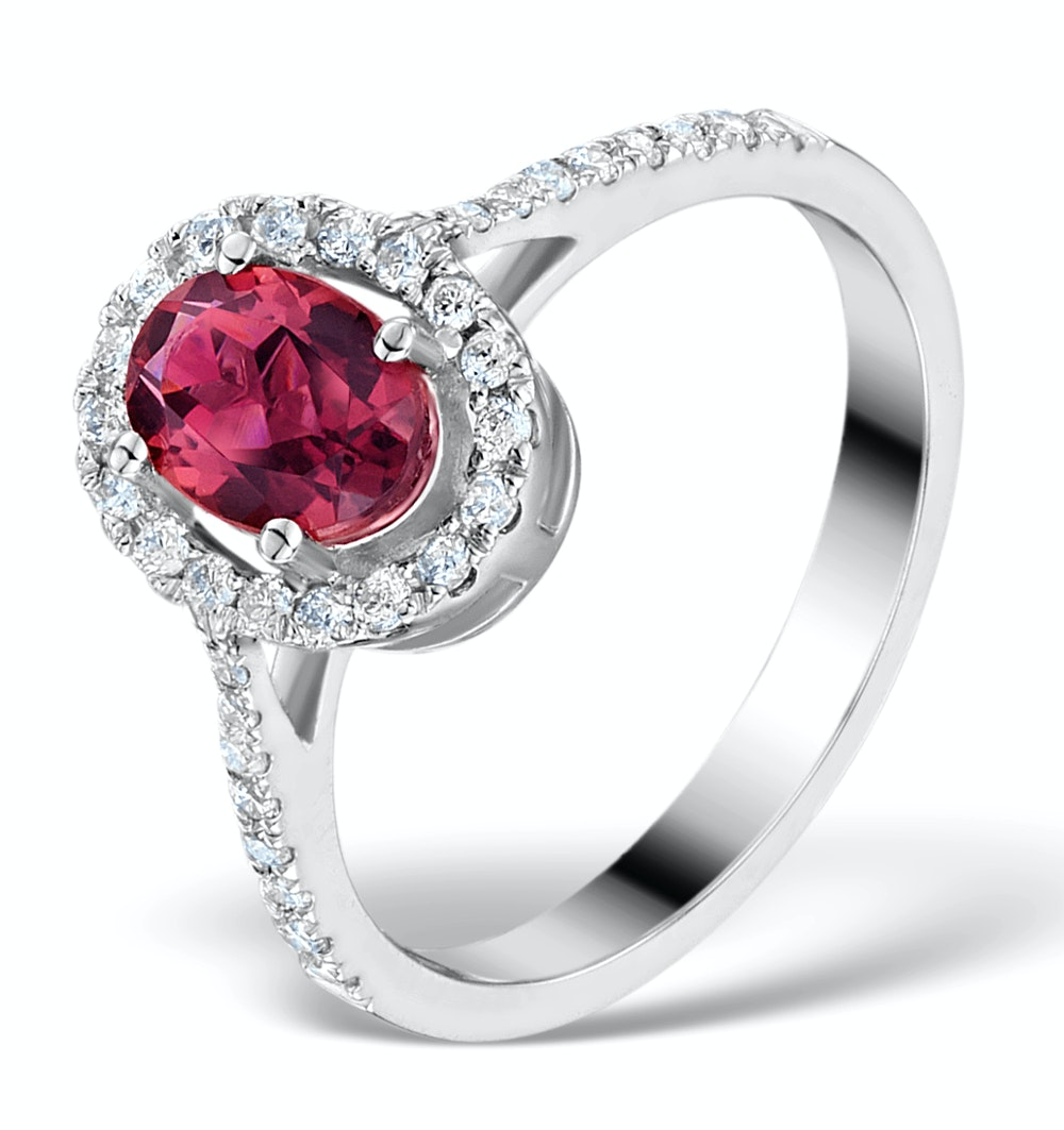 Pink Tourmaline 0.50CT and Diamond Halo 18K White Gold Ring UT39