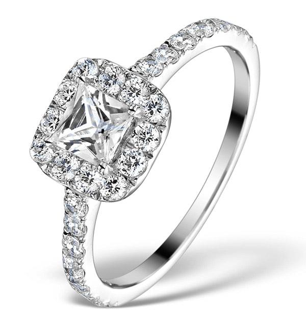 Halo Engagement Ring Aria 1.30ct VS1 Princess Diamond 18K White Gold
