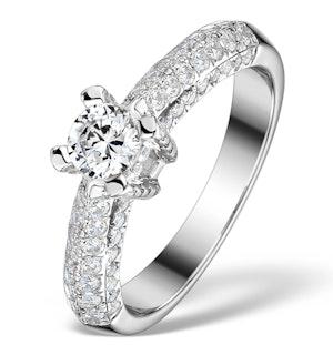 SIDESTONE ENGAGEMENT RING NOVA 1.20CT SI2 PAVE DIAMONDS 18K WHITE GOLD