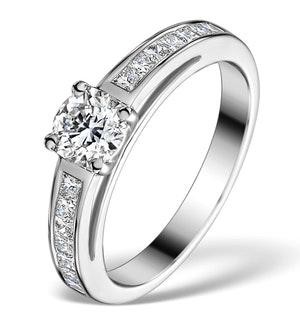 SIDESTONE ENGAGEMENT RING ELERI 0.90CT SI2 PRINCESS DIAMONDS 18KW GOLD