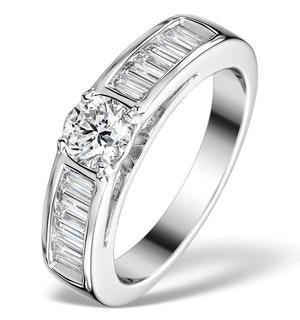 SIDESTONE ENGAGEMENT RING YASMIN 1CT SI2 BAGUETTE DIAMOND 18KW GOLD