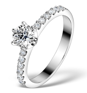 SIDESTONE ENGAGEMENT RING TALIA 0.85CT G/SI2 DIAMONDS 18K WHITE GOLD
