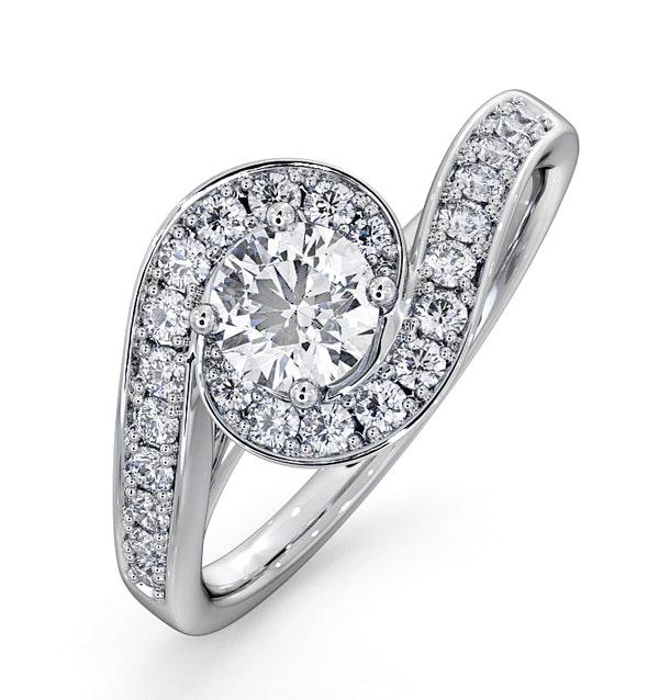 Anais GIA Diamond Engagement Halo Ring 18KW Gold 0.82CT G/SI2