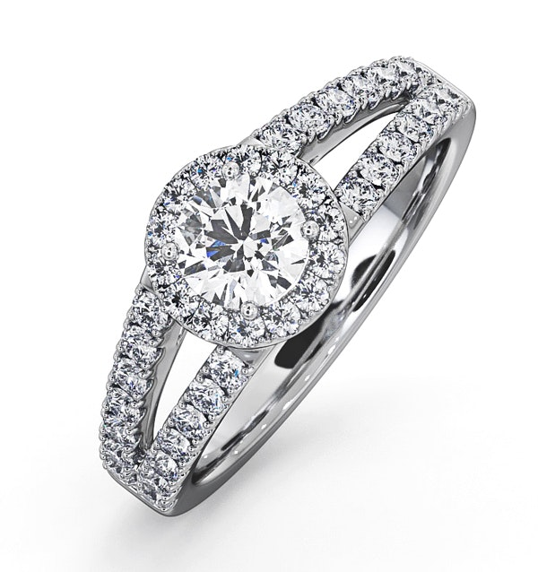 Carly GIA Diamond Engagement Side Stone Ring Platinum 0.98CT G/SI2