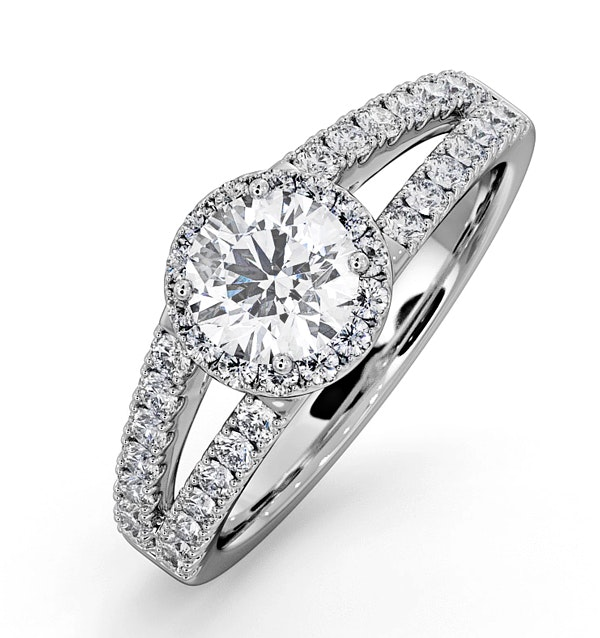 Carly GIA Diamond Engagement Side Stone Ring Platinum 1.23CT G/VS1