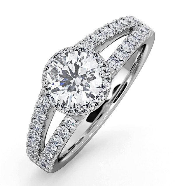 Carly GIA Diamond Engagement Side Stone Ring Platinum 1.48CT G/SI1