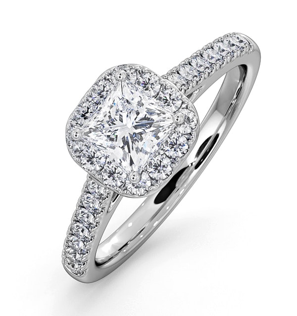 Roxy GIA Diamond Engagement Side Stone Ring in 18KW Gold 1.22CT G/VS1